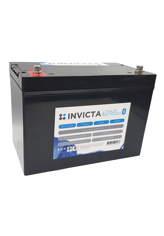 INVICTA SNL12V100BT 12V 100AH Lithium Deep Cycle Battery with Blue Tooth