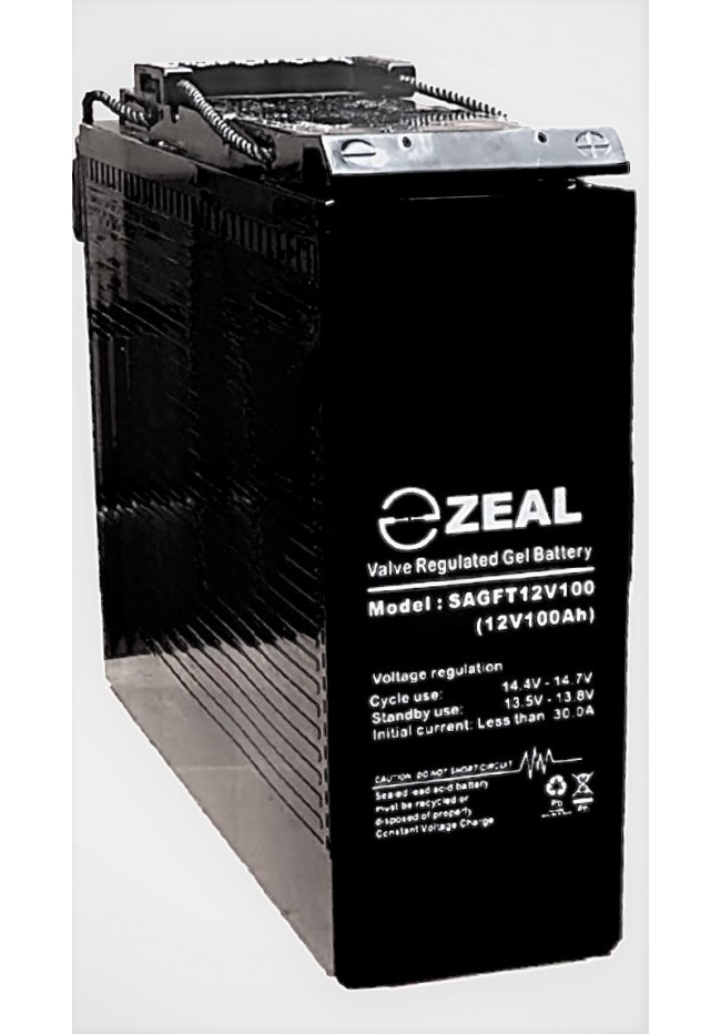 ZEAL SAGFT12V100 12v 100Ah Slimline Deep Cycle GEL Battery
